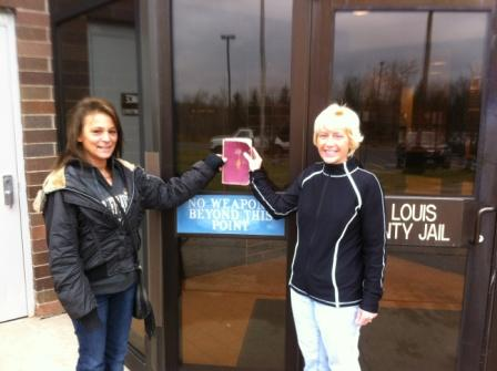 Patty with Maria on their way to do thier weekly bible Study at the St. Louis County Jail