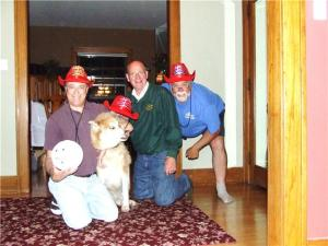 "The Red Hat Society ""Damaged Cargo Division""  L to R, Gerry (with Little Wilson), Chili, Rod, &Mike"